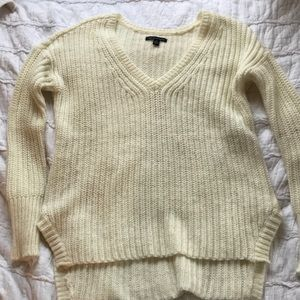 American Eagle Cream Sweater with Zippers on side